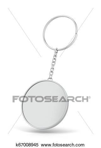 blank metallic keychain mockup stock illustration