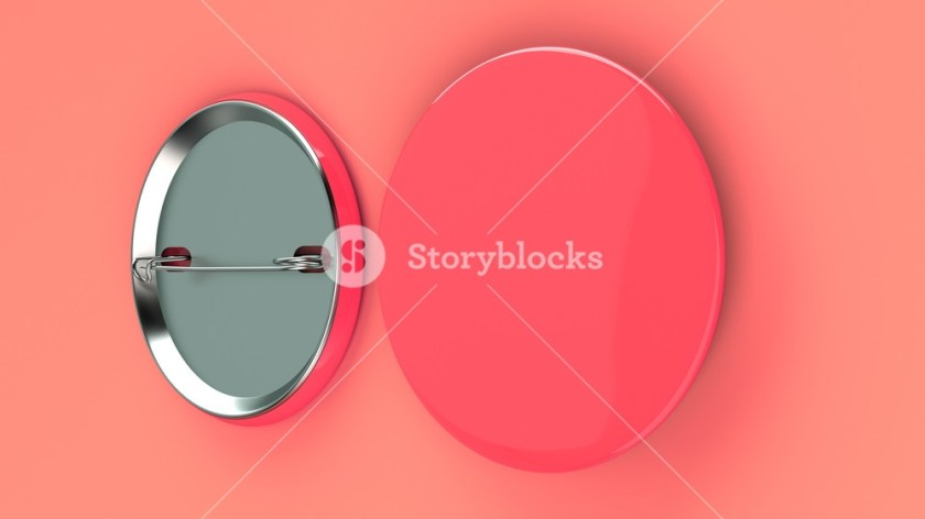 blank red badge on red background pin button mockup 3d
