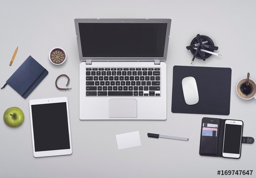 busy professionals desk mockup buy this stock template and