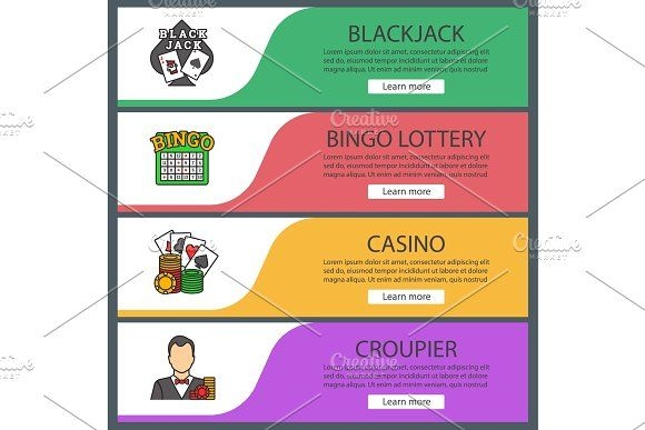 casino web banner templates set icons factory on omairsart