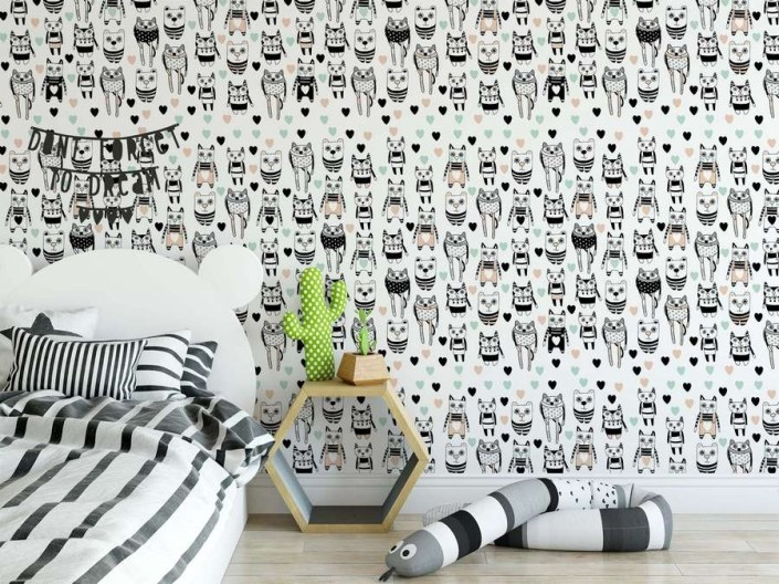 cat wallpaper mural colourful pattern on white background