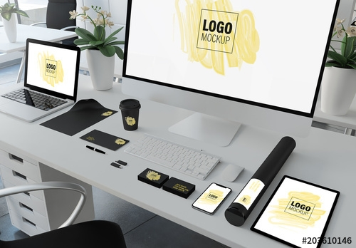 corporate identity set on desk mockup buy this stock