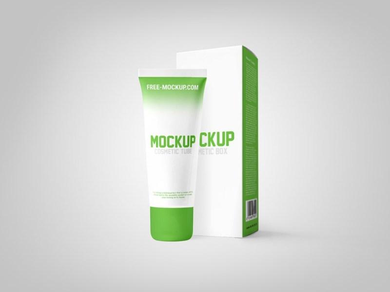 cosmetic tube with box mockup free free mockup