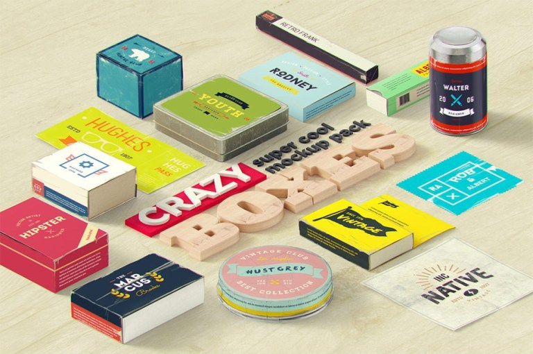 crazy boxes mockup pack design cuts