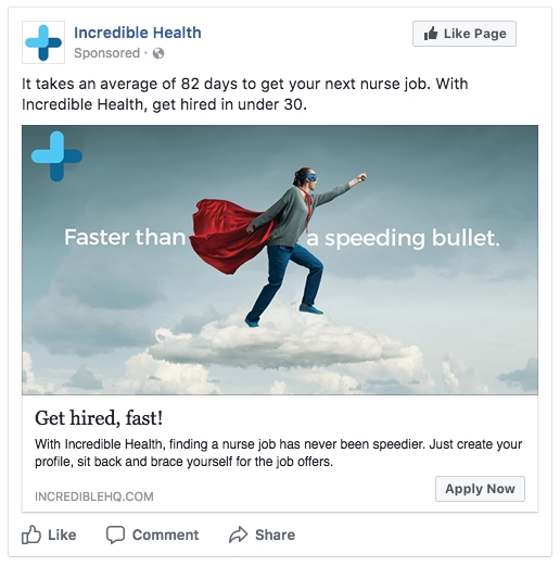 facebook ad mockups for a healthcare recruitment company