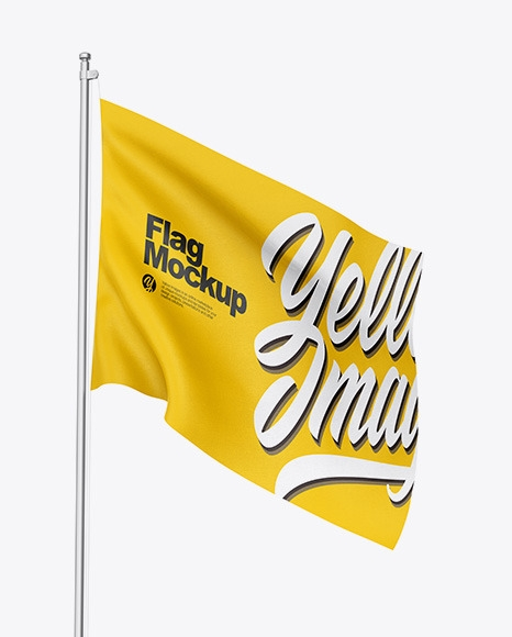 flag mockup in outdoor advertising mockups on yellow images
