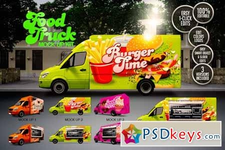 food truck mock up kit 137784 free download photoshop vector stock