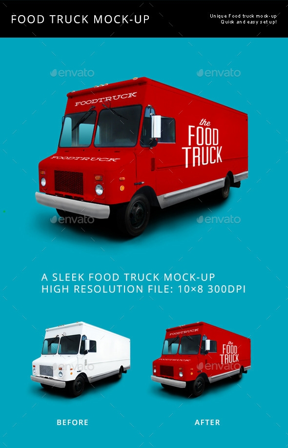food truck mockup graphics designs templates