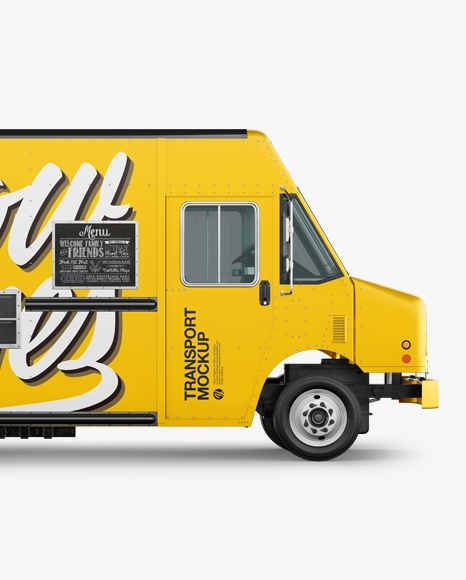 food truck mockup half side view in vehicle mockups on yellow