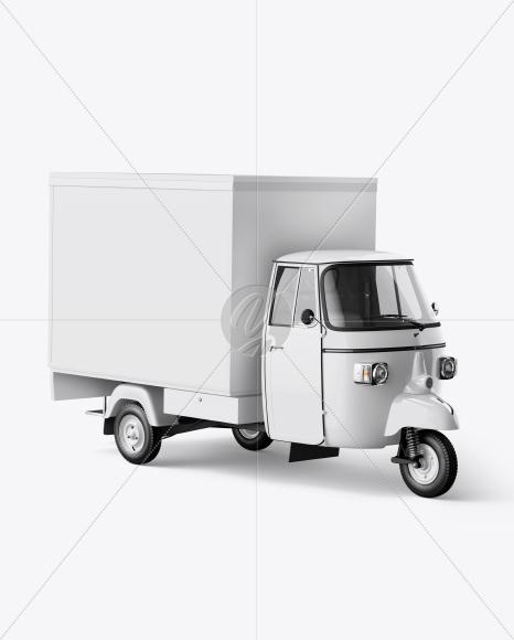 food truck mockup half side view in vehicle mockups on yellow
