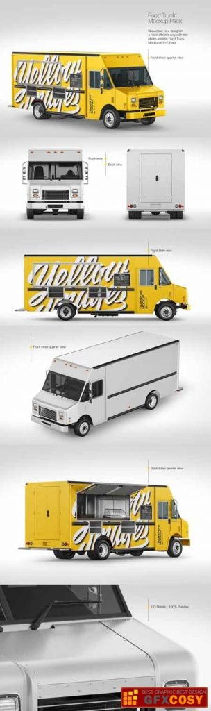 food truck mockup pack free download photoshop vector stock image