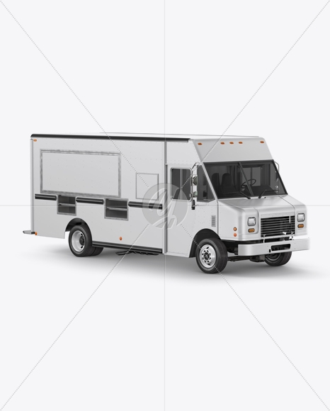 food truck mockup side view in vehicle mockups on yellow images