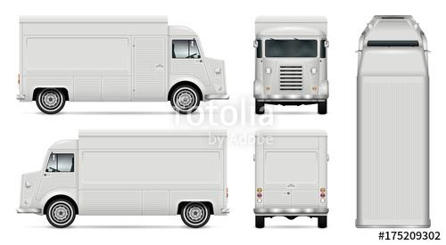 food truck vector mock up for car branding advertising corporate