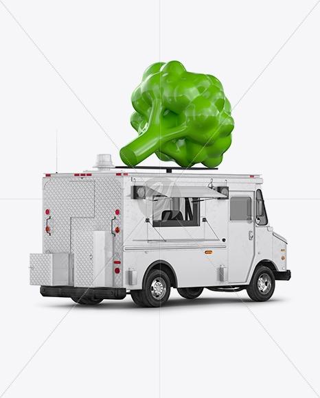 food truck vegan mockup back half side view in vehicle mockups on