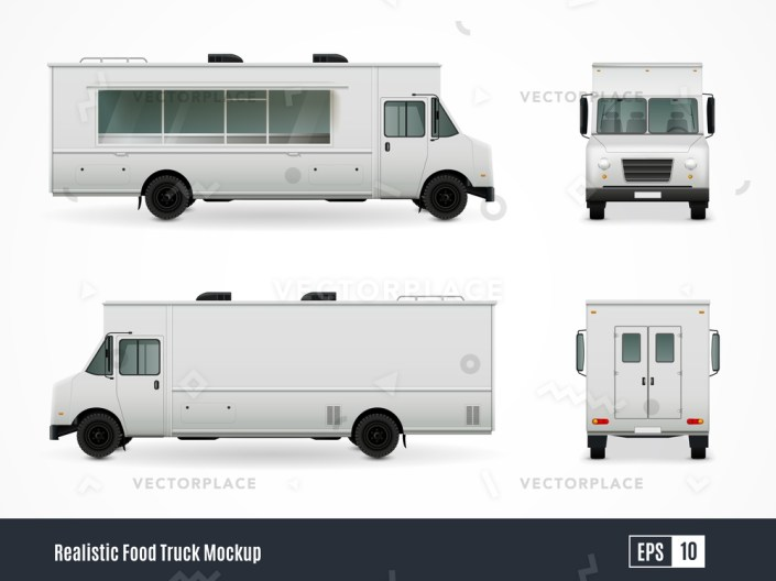 food trucks realistic ad template mockup collection of isolated minibus side view images with display windows vector illustration