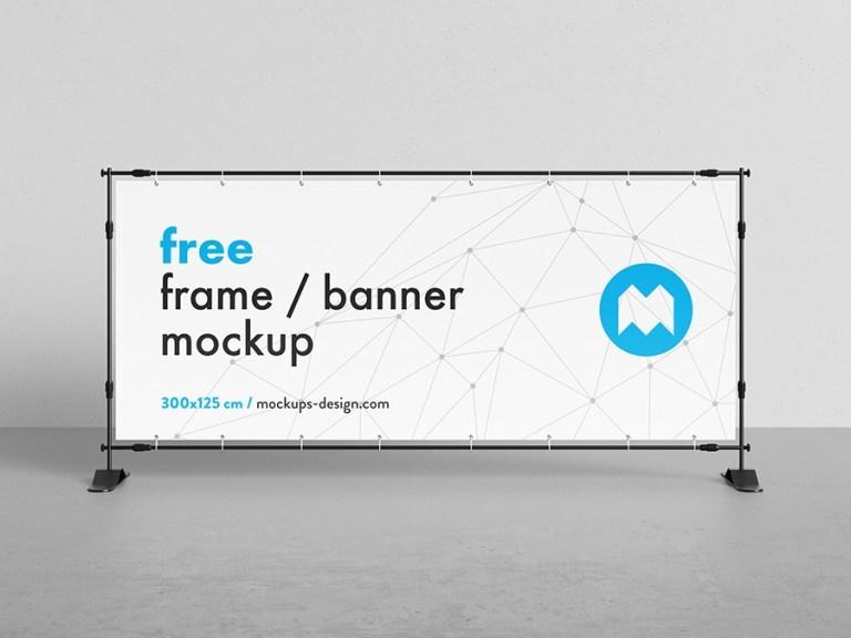free banner frame stand mockup 300 x 125cm mockups design