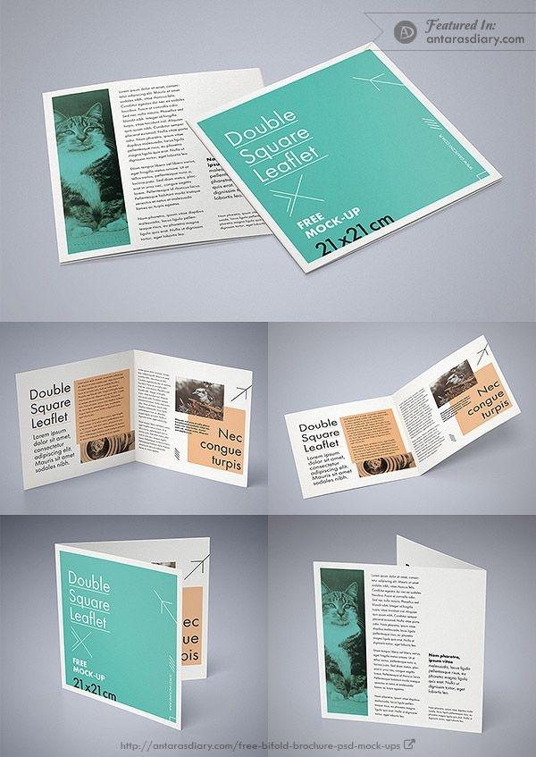 free double square leaflet mockup psd mockups mockup bi fold