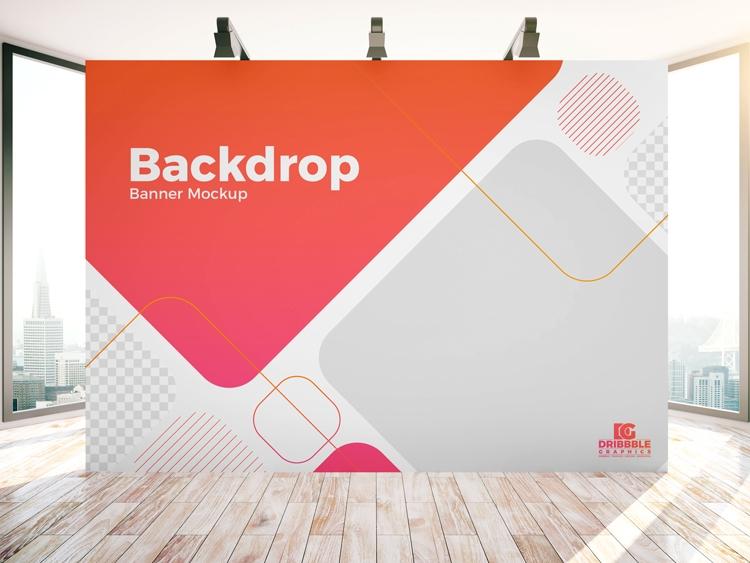 free indoor advertisement backdrop banner mockup psd download