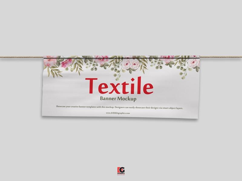 free psd textile banner mockup freemockup