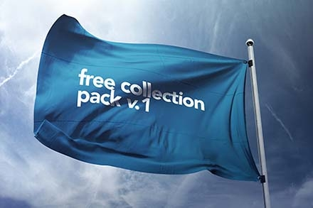 free realistic flag mockup psd