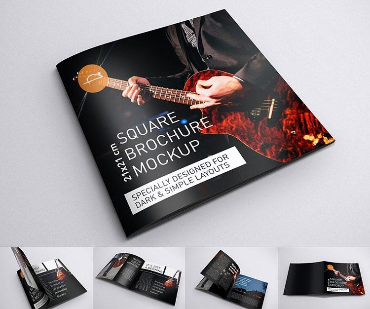 free square brochure mockup mockuptree