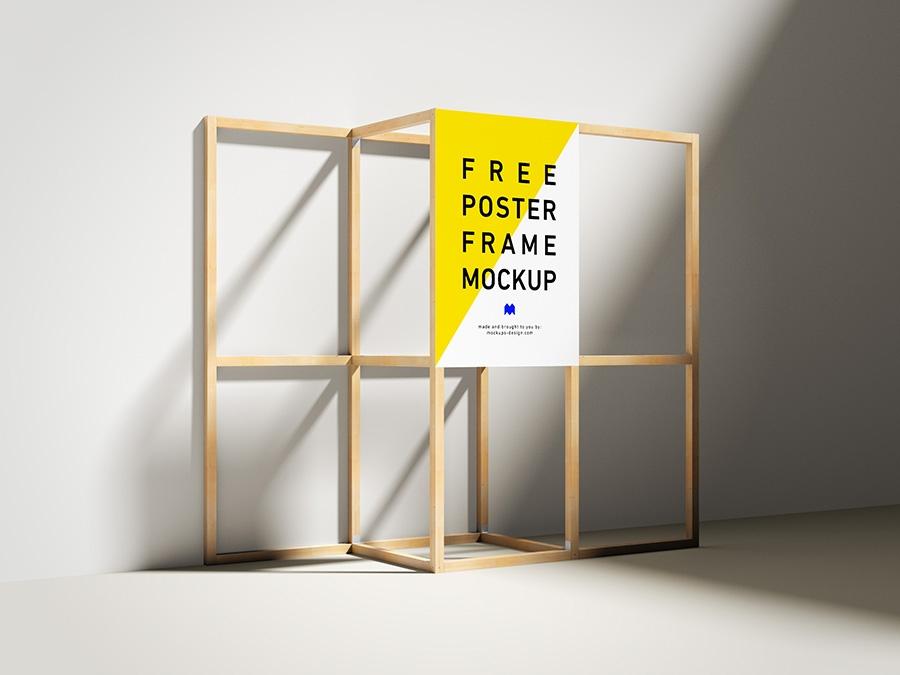 free wooden poster frame mockup mockups design free