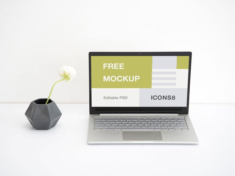free workspace laptop mockup mockuptree