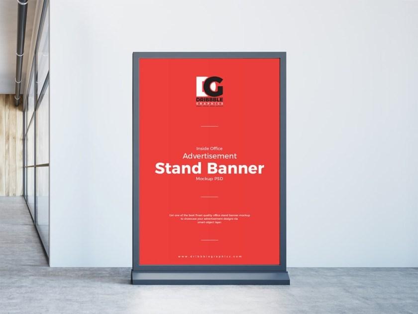 inside office stand banner free mockup free mockup