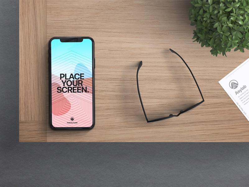 iphone x in desk mockup asylab on dribbble