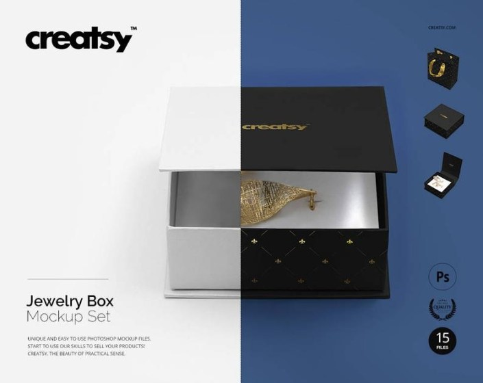 jewelry box mockup set for earrings jewelry bag template gift box mockup wedding box birthday bag template gold silver foil stamp psd