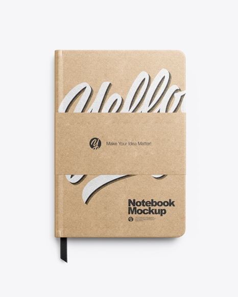 kraft notebook mockup in stationery mockups on yellow images