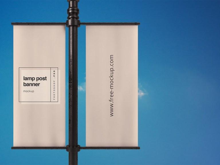 lamp post banner mockup free mockup