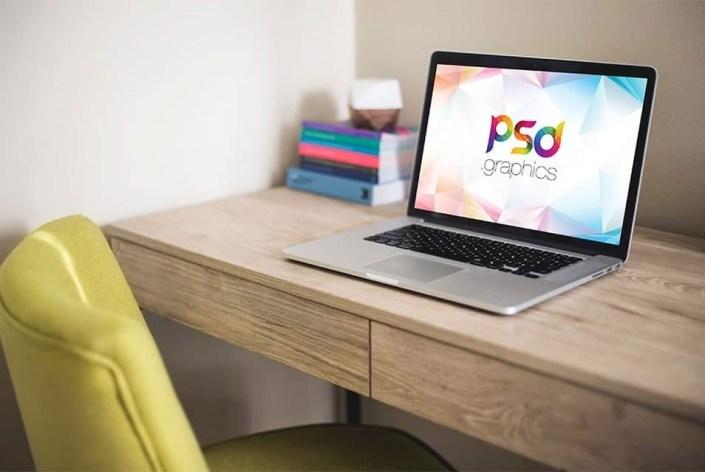 macbook pro on desk mockup free psd css author