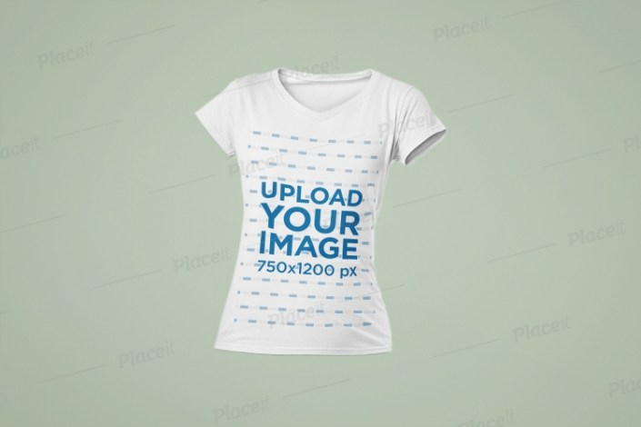 mockup of a womans v neck ghosted t shirt 29365