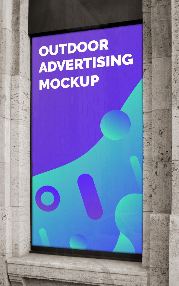 mockup of the street city outdoor advertising vertical