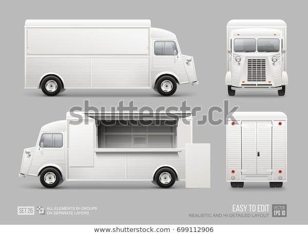old school food truck mockup set stock vector royalty free 699112906