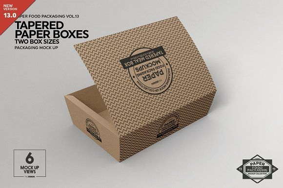 paper tapered takeout boxes mockup incdesign on