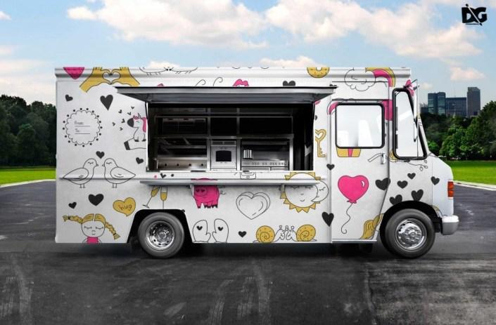 psd burger food truck design mockup psd premium mock up