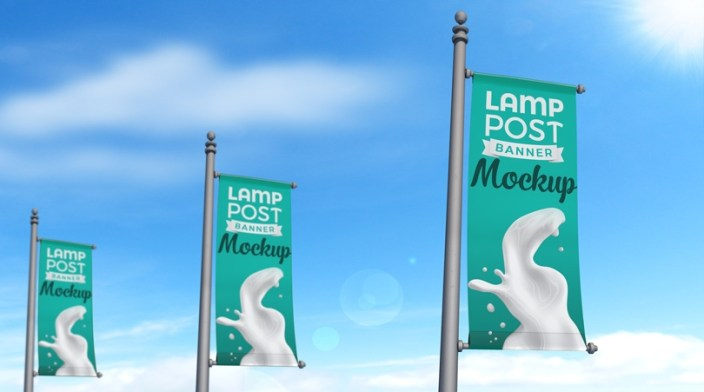 realistic lamp post banner psd outdoor advertising mockup
