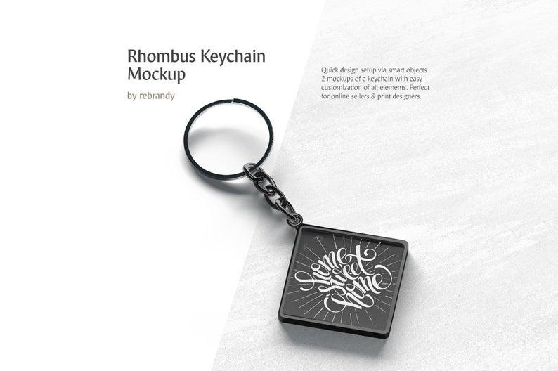rhombus keychain mockup car breloque mock up metal keyring mock up accessories template