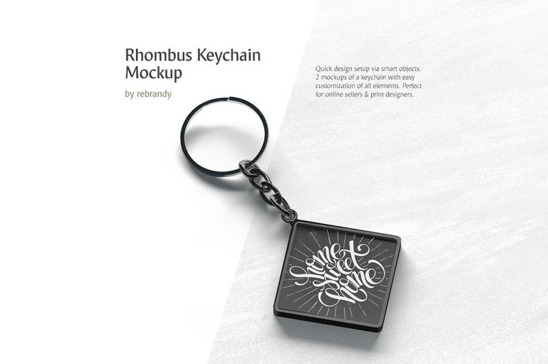 rhombus keychain mockup car breloque mock up metal keyring mock up accessories template