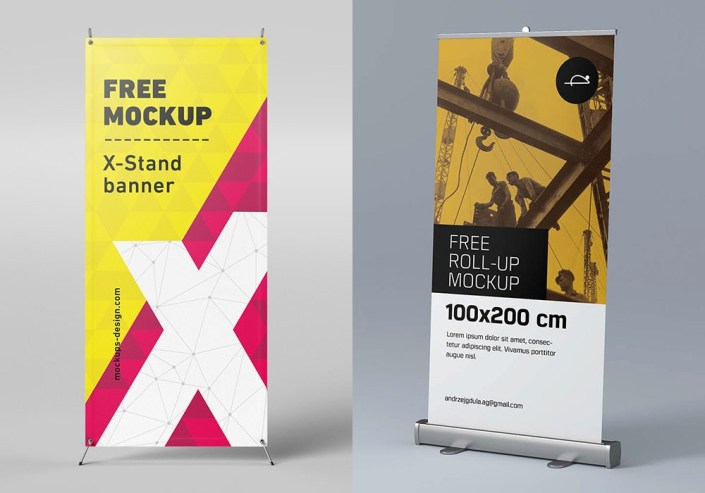 roll up banner mockup free psd