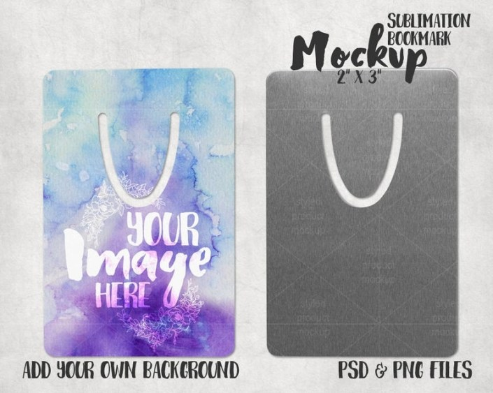 short rectangle bookmark mockup with front and back view add your own image and background