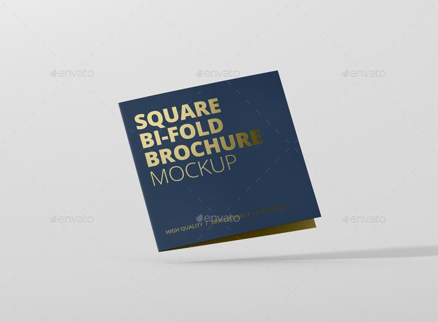 square bi fold brochure mock up