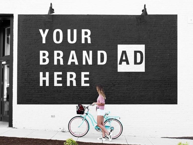 street wall mural mockup free mockup