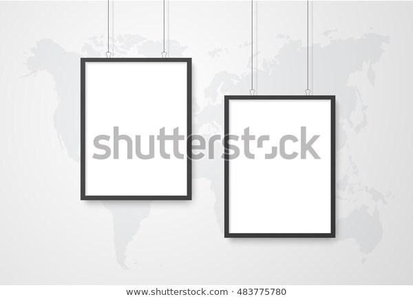 three poster mockup world map stock vector royalty free 483775780