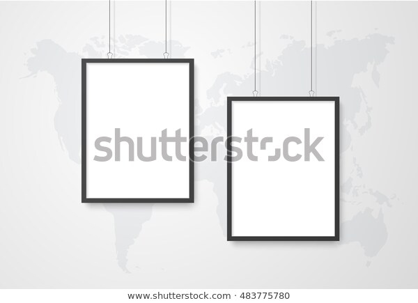 three poster mockup world map stock vector royalty free 483775780