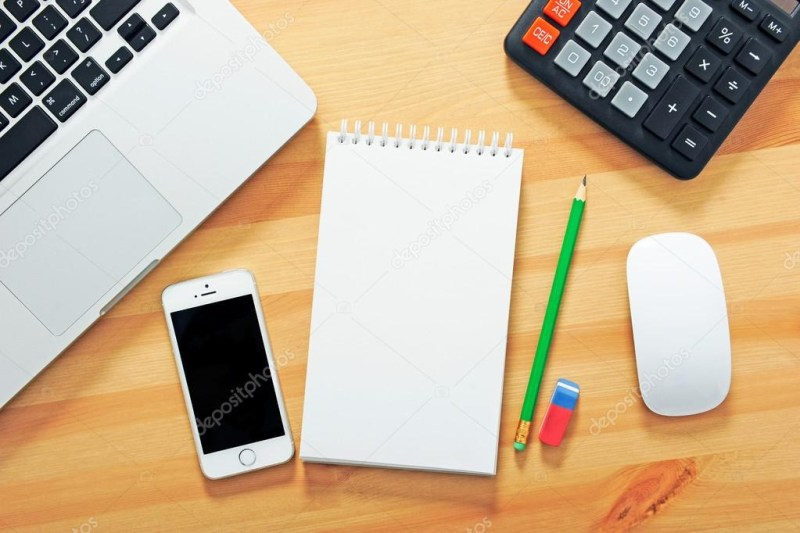 top view office desk mockup stock photo andriivergeles