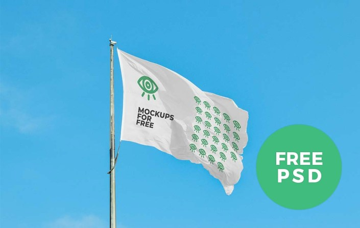 waving flag mockup free psd psfiles