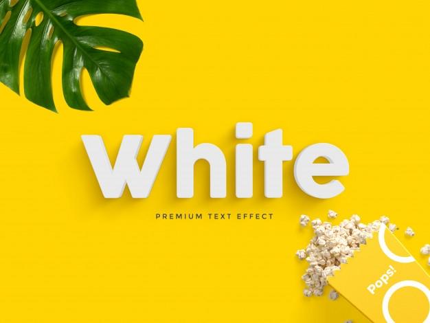 white 3d text effect mockup psd file premium download